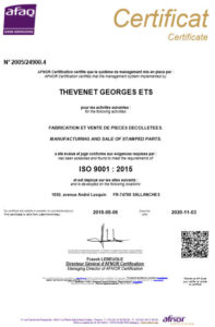 bar turning iso certificate Thevenet