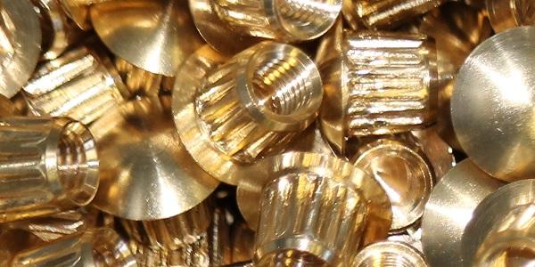 Turned knurled brass nut, brass machining