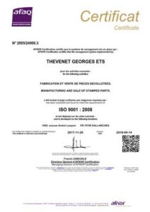 Certification ISO 9+001 AFAQ Décolletage