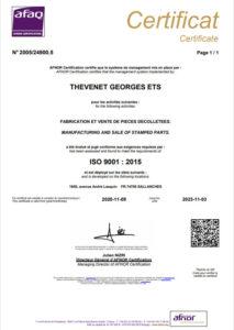certification ISO pièce de décolletage Thevenet